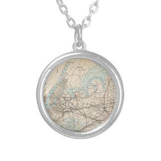 Map of Kings, Queens, Long Island Silver Plated Necklace