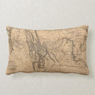 Map of Lewis & Clark's Across Western America 1814 Lumbar Pillow