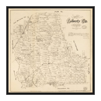 Map of Liberty County, Texas (1879) Canvas Print