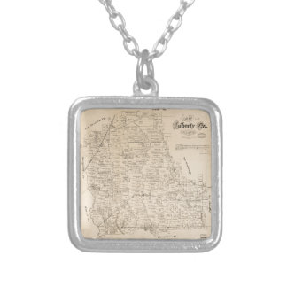 Map of Liberty County, Texas (1879) Silver Plated Necklace
