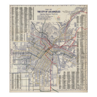 Map of Los Angeles Rail System 1904 Poster