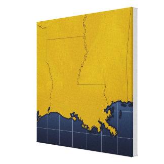 Map of Louisiana Canvas Print