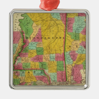 Map of Louisiana, Mississippi and Alabama Silver-Colored Square Ornament