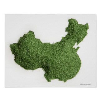 Map of Mainland China made of grass Poster
