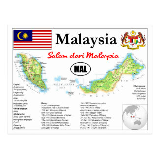 Map OF Malaysia with facts Postcard