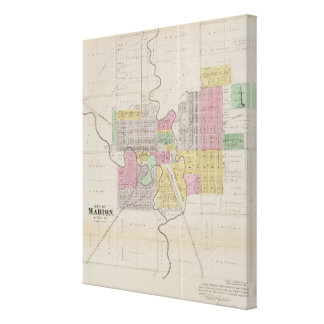 Map of Marion, Marion County, Kansas Stretched Canvas Prints