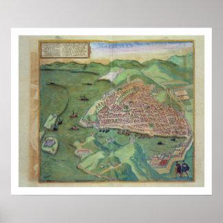 Map of Marseilles, from 'Civitates Orbis Terrarum' Poster