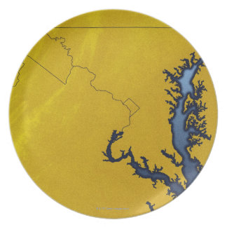 Map of Maryland 4 Dinner Plate