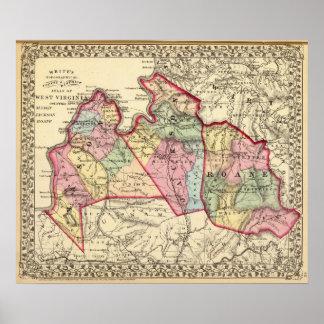 Map of Mason, Jackson, Roane counties Poster