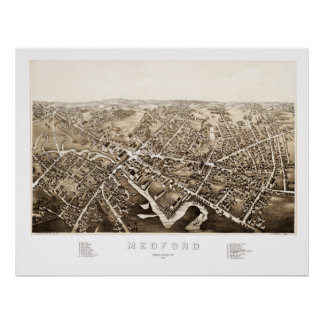 Map of Medford, Massachusetts from 1880 Poster