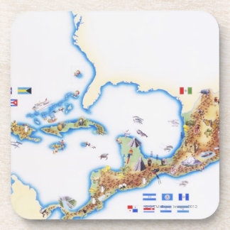 Map of Mexico, Central America and Caribbean Drink Coaster