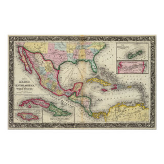 Map Of Mexico, Central America Poster