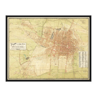 Map of Mexico City from 1907 Canvas Print