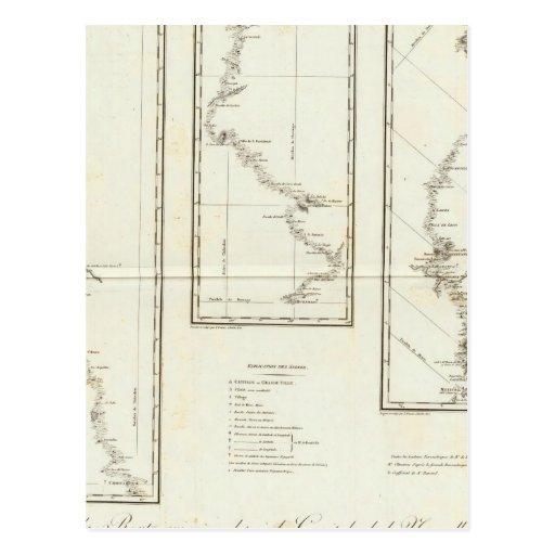 Map of Mexico City to Santa Fe New Mexico Postcard