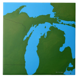 Map of Michigan 3 Tile