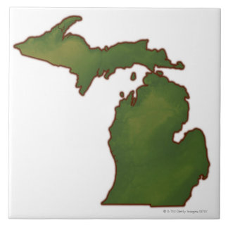 Map of Michigan 4 Tile
