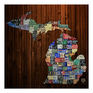 Map of Michigan Counties License Plate Map Poster
