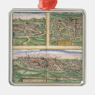 Map of Montpellier, Tours, and Poitiers, from 'Civ Metal Ornament