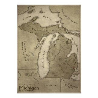 Map of Mythological Land of Michigan Poster