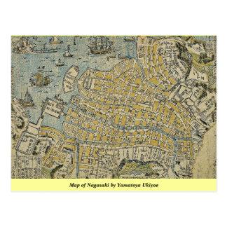 Map of Nagasaki by Yamatoya Ukiyoe Postcard