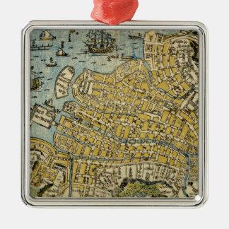 Map of Nagasaki Metal Ornament