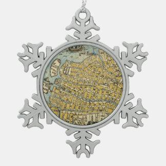 Map of Nagasaki Snowflake Pewter Christmas Ornament