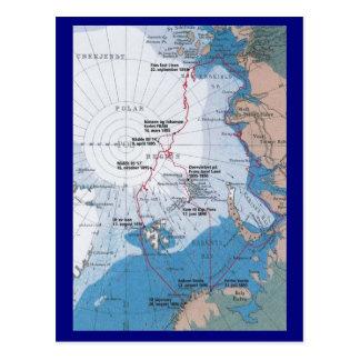 Map of Nansen's Voyages Postcard