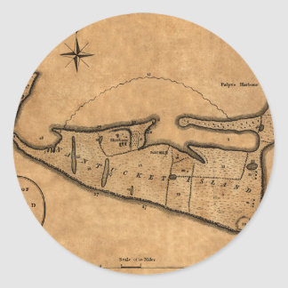 Map of Nantucket 1782 Classic Round Sticker