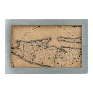 Map of Nantucket 1782 Rectangular Belt Buckle