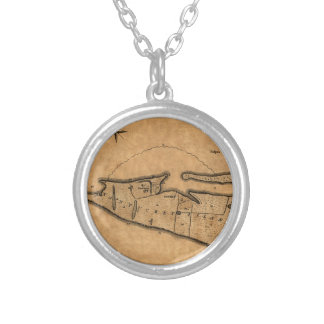 Map of Nantucket 1782 Silver Plated Necklace