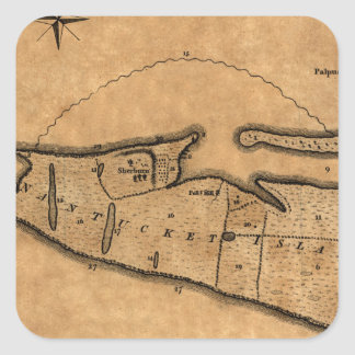 Map of Nantucket 1782 Square Sticker