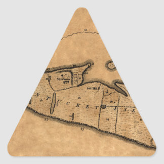 Map of Nantucket 1782 Triangle Sticker