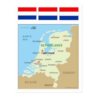 Map of Netherlands Postcard