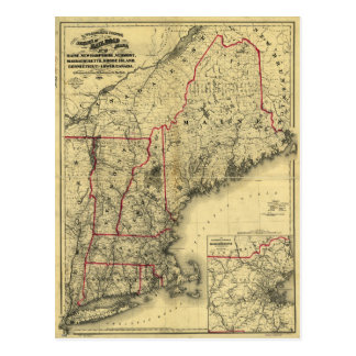 Map of New England and Surroundings (1860) Postcard