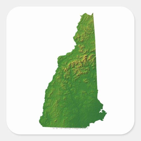 Map of New Hampshire Square Sticker