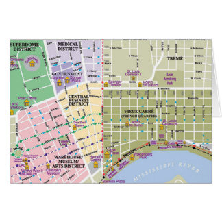 Map of New Orleans Note Cards