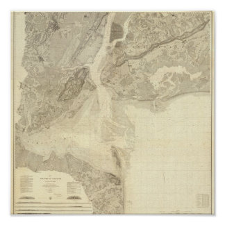 Map of New York Bay And Harbor And The Environs Poster
