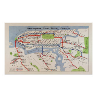 MAP of NEW YORK RAPID TRANSIT SYSTEM 1924 Poster