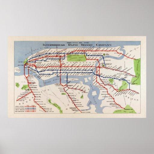 MAP of NEW YORK RAPID TRANSIT SYSTEM 1924 Print