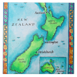 Map of New Zealand 2 Ceramic Tile