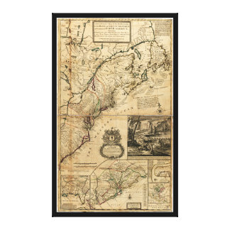 Map of North America (British Colonies) 1731 Canvas Print