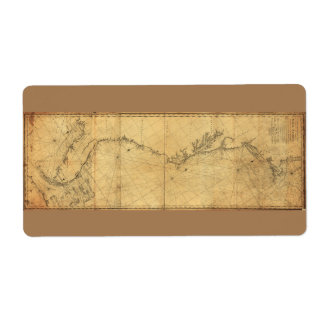 Map of North America Cape Cod to Havannah (1784) Shipping Label