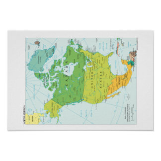 Map of North-America Poster