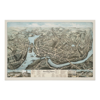 Map of Norwich, CT from 1876 Poster