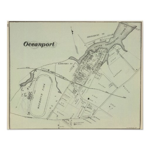 Map of Oceanport, NJ Poster