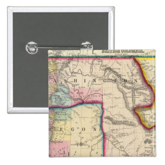 Map Of Oregon, Washington 2 Inch Square Button