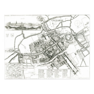 Map of Oxford, 1643 Postcard