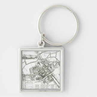Map of Oxford, 1643 Silver-Colored Square Keychain