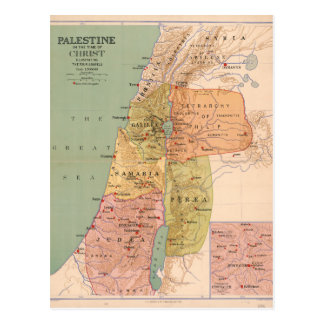 Map of Palestine in Time of Christ (to 70 A.D.) Postcard