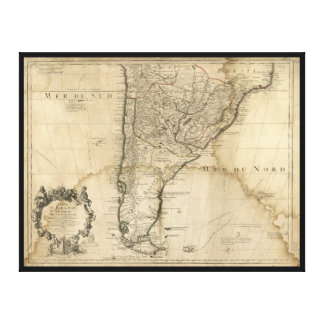 Map of Paraguay & Chili, South America (1718) Canvas Print